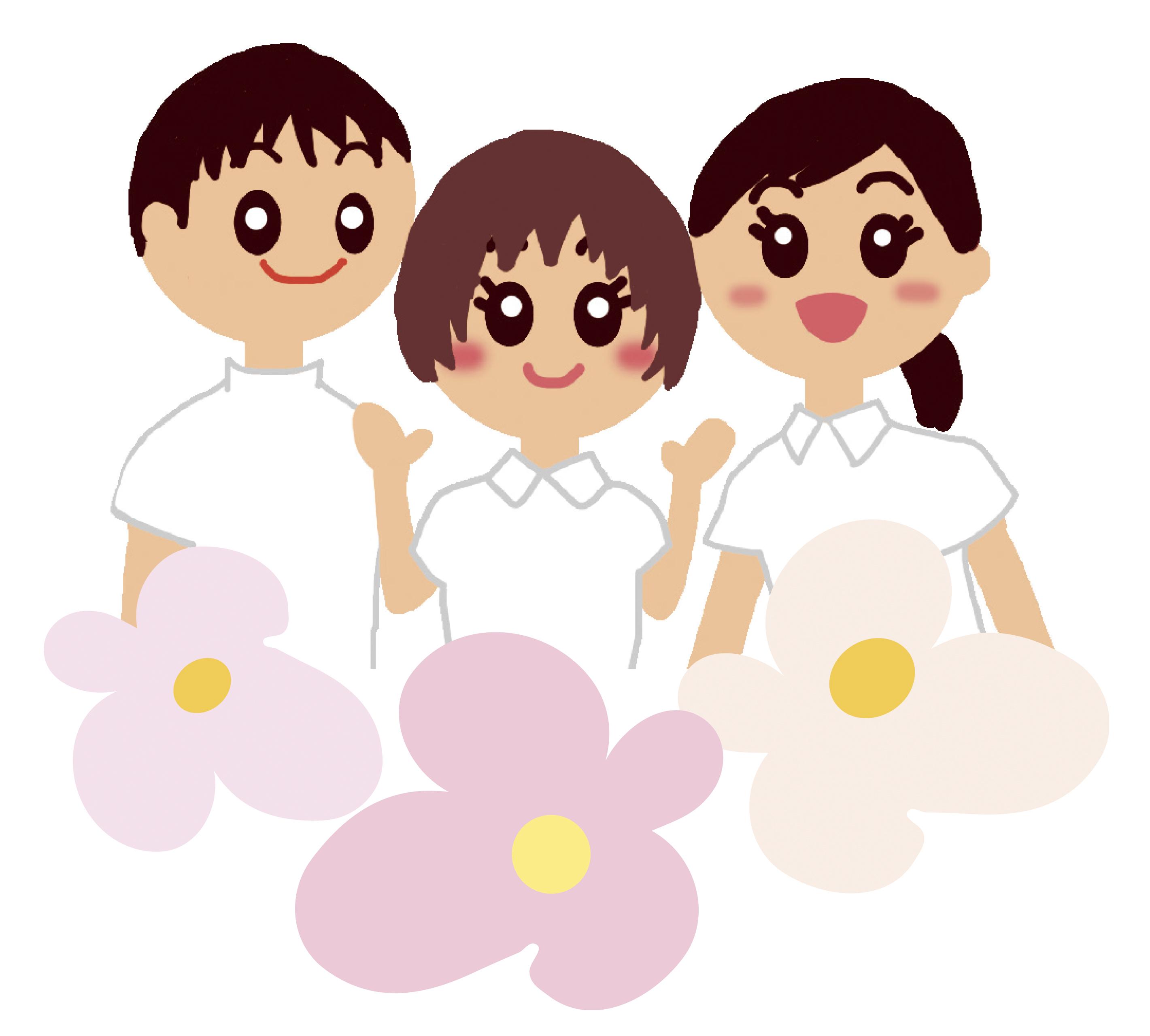 3人(花と一緒)1